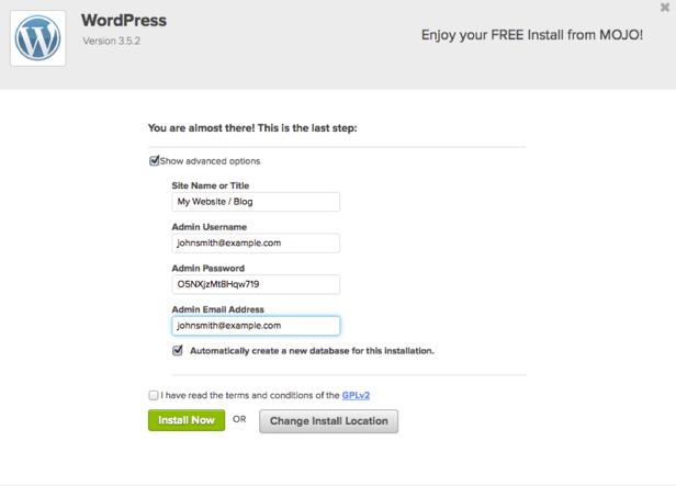 mojo-wordpress-install