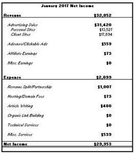 January 2017: Blog Net Income Report