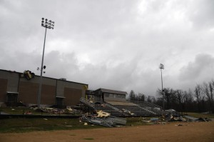 debris from a tornado that hit my son's school on Wednesday