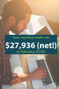 February 2016: Blog Net Income Report