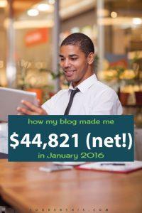 January 2016: Blog Net Income Report