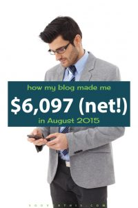 August 2015: Blog Net Income Report